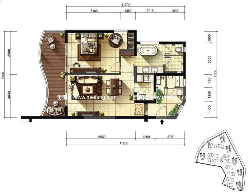 隆源神州半岛 君临海公寓4#D户型 1室2厅1卫1厨 建面105㎡