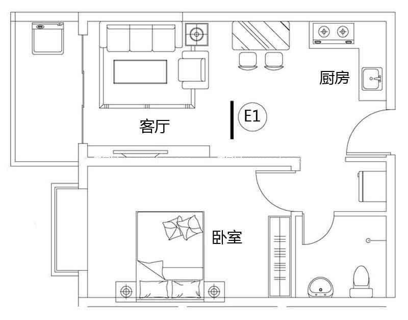 龙溪雅居 1#E1户型 1室2厅1卫1厨 建面57.68㎡