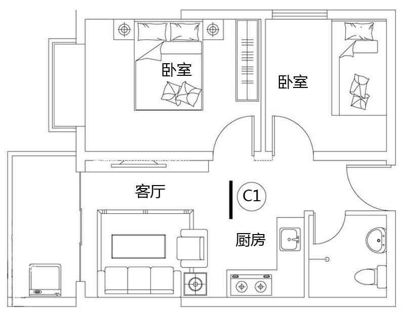 龙溪雅居 1#C1户型 2室1厅1卫1厨 建面57.04㎡