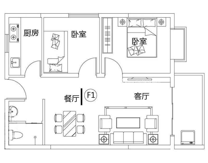 龙溪雅居 2#F1户型 2室2厅1卫1厨 建面73.91㎡