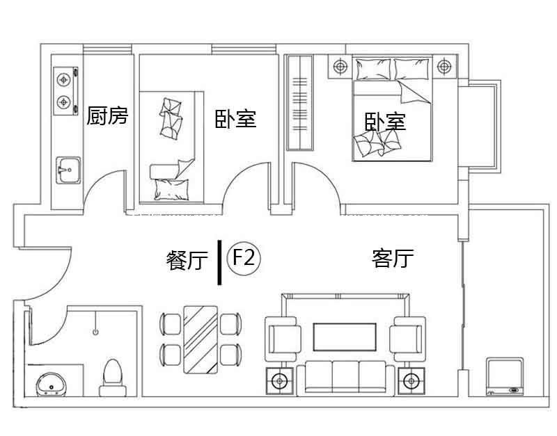 龙溪雅居 2#F2户型 2室2厅1卫1厨 建面71.75㎡