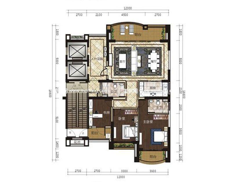 君悦府 A1a户型 3室2厅2卫 建面160.61㎡