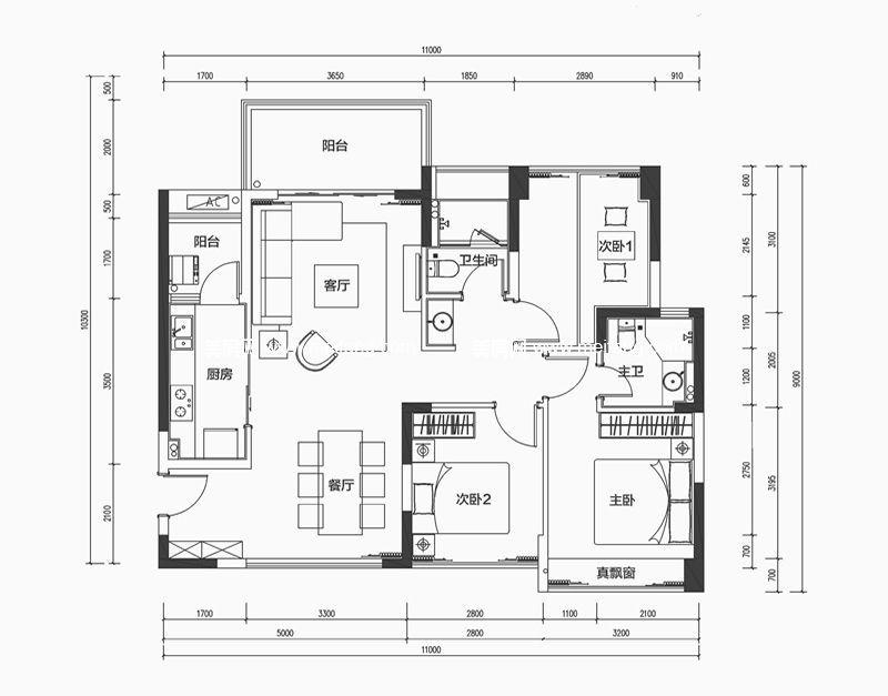 南枫禅墅 3室2厅2卫1厨107㎡