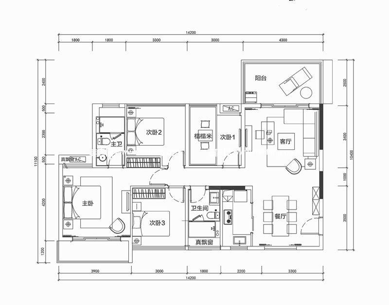 南枫禅墅 4室2厅2卫1厨121㎡