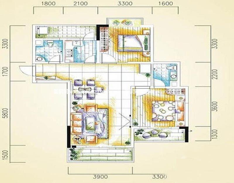 汇丰国际度假公寓 2室2厅2卫93㎡