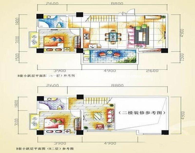 汇丰国际度假公寓 :2室2厅2卫81㎡