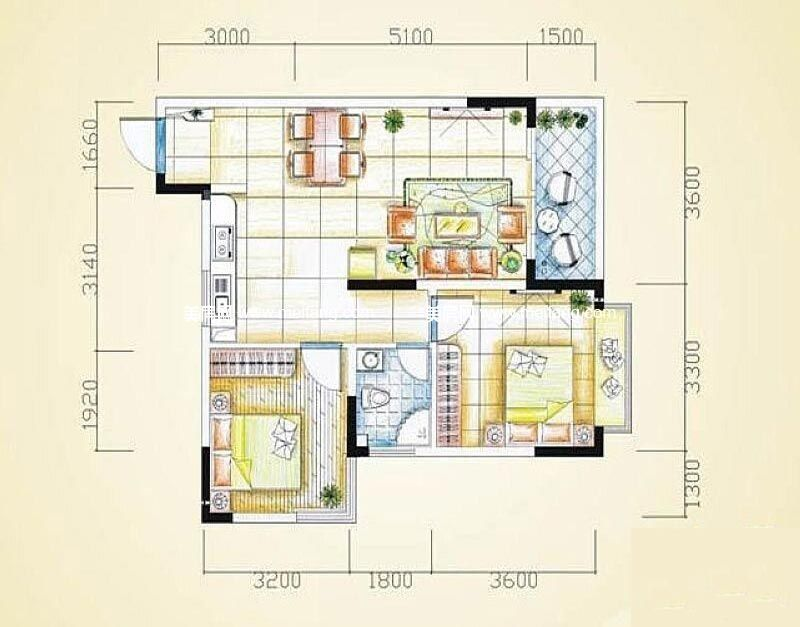 汇丰国际度假公寓 2室2厅1卫79㎡