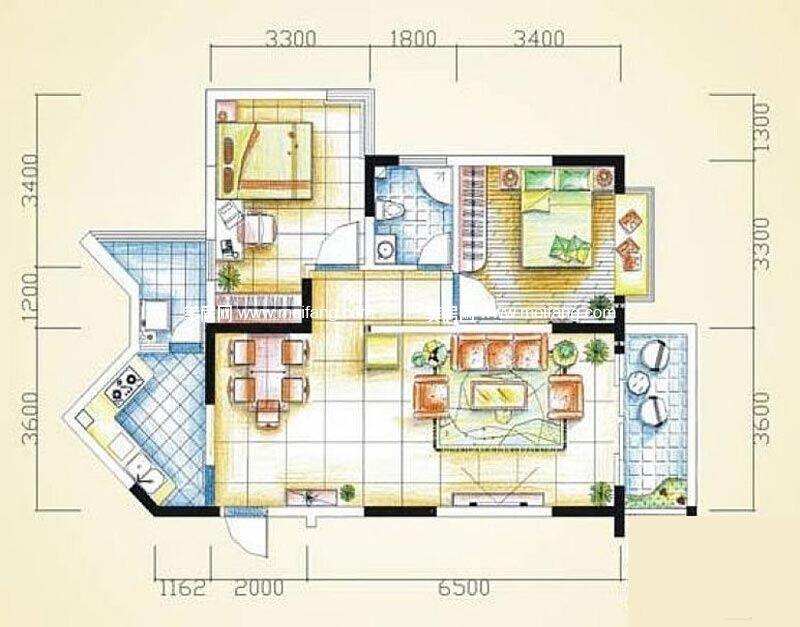 汇丰国际度假公寓 2室2厅1卫93㎡