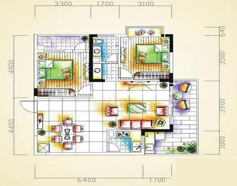 汇丰国际度假公寓 2室2厅1卫90㎡