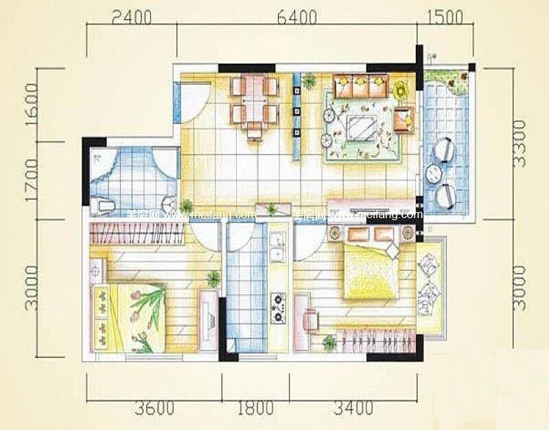 汇丰国际度假公寓 2室2厅2卫68㎡