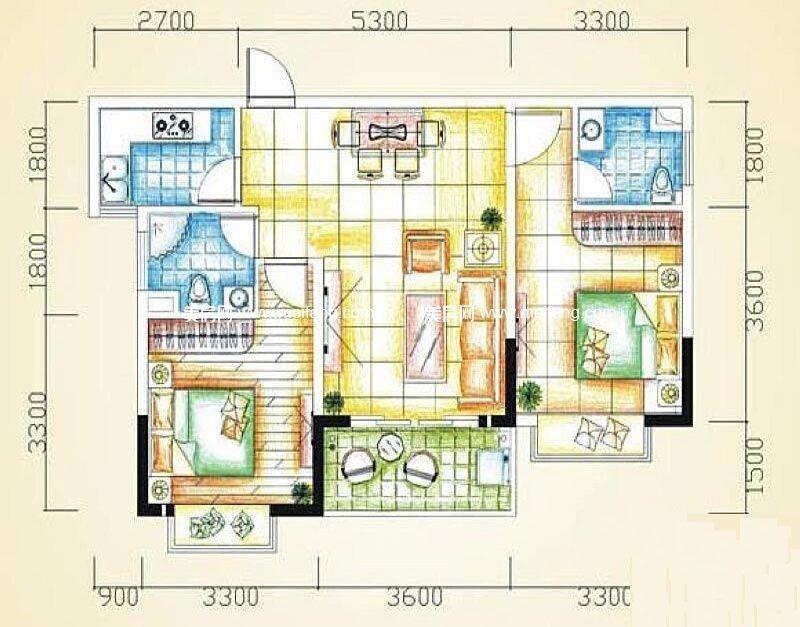 汇丰国际度假公寓 2室2厅2卫77㎡
