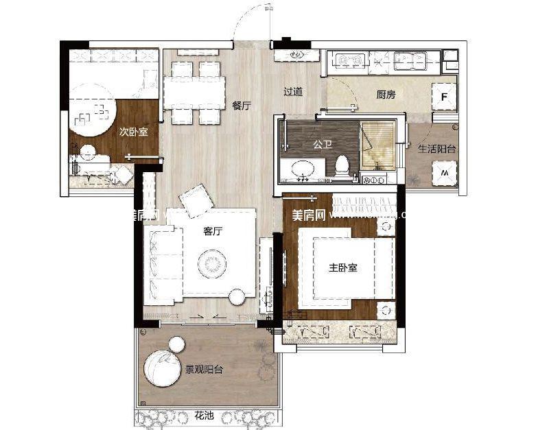 双大山湖湾 二期D1户型2室2厅1卫建面69㎡