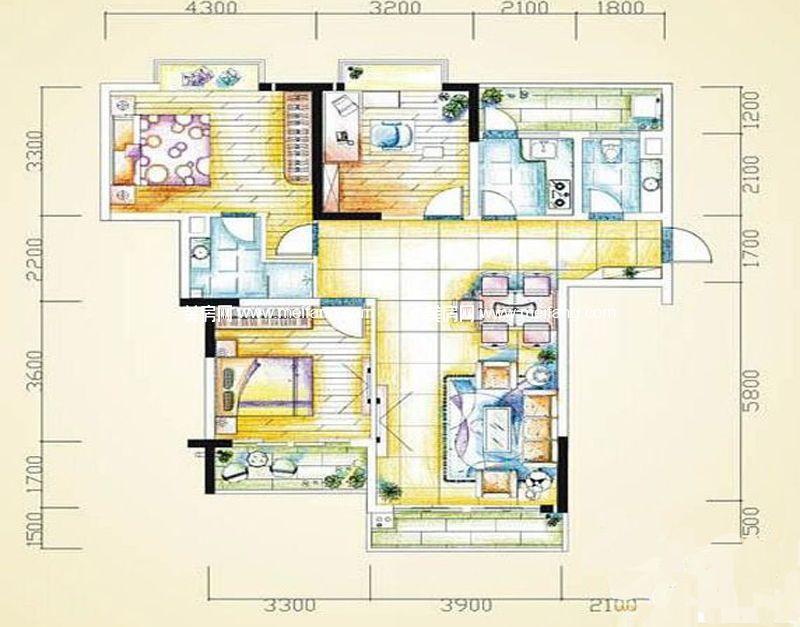 汇丰国际度假公寓 3室2厅1厨2卫,112㎡