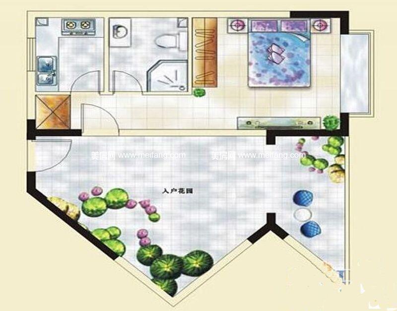 汇丰国际度假公寓 11#C户型 1室1厅1卫 约62.96㎡