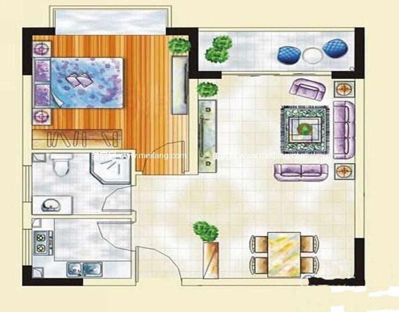 汇丰国际度假公寓 12#F户型 1室2厅1卫 约70.83㎡