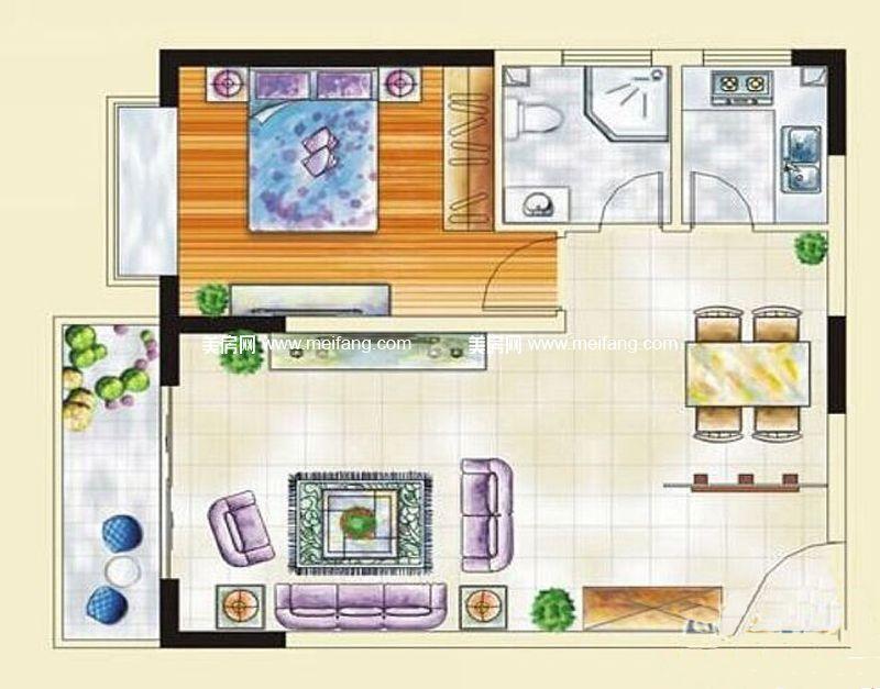 汇丰国际度假公寓 11#B户型 1室2厅1卫 约70.67㎡