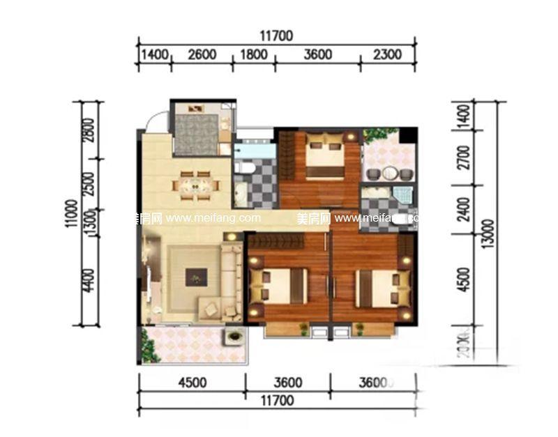 和沐天成 3室2厅2卫建面134.5㎡