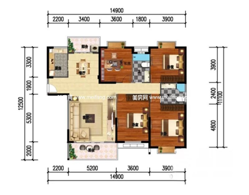 和沐天成 4室2厅2卫建面154.5㎡