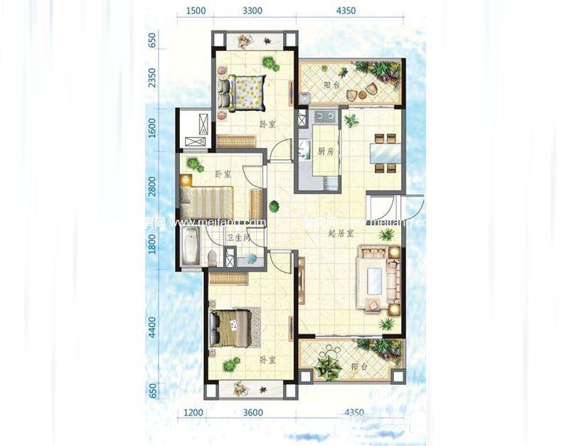 万宁国瑞城 5号楼F户型 3室2厅1卫 116㎡