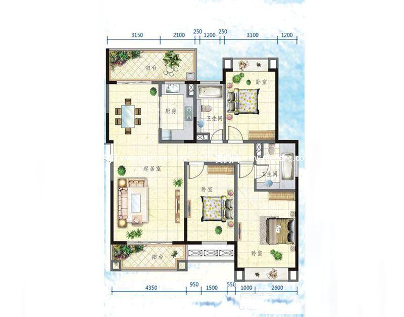 万宁国瑞城 5号楼G户型 3室2厅2卫 131㎡