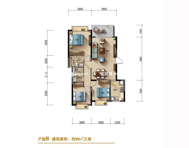 隆源神州半岛 山海居洋房B户型 3室2厅1厨2卫 建面99㎡