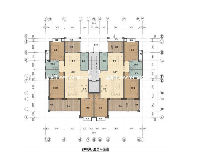 华悦海棠 B户型 3房2厅2卫 建面138㎡