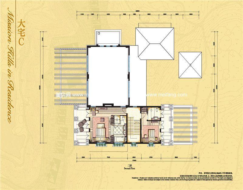 观澜湖 大宅C户型二层 3房2厅6卫 298.11㎡