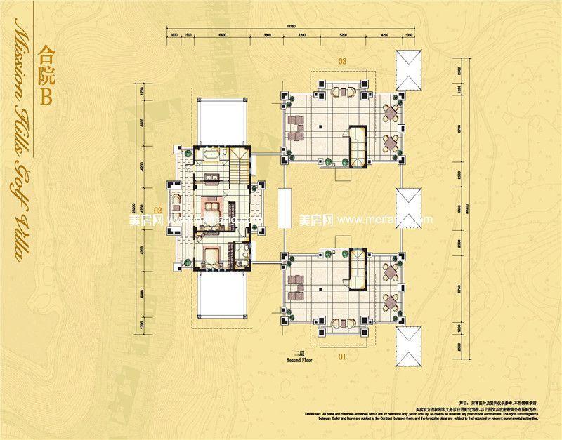 观澜湖 合院B户型二层 7房4厅8卫 392.96㎡