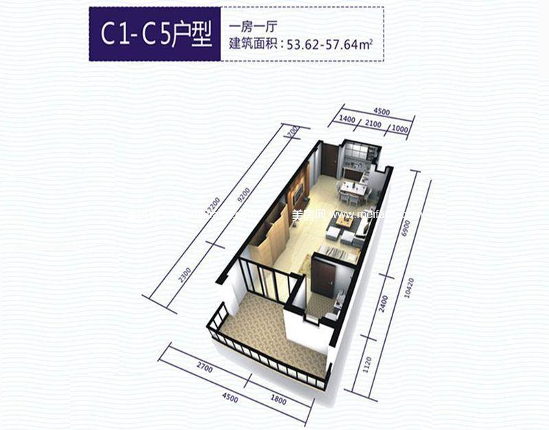 波溪丽亚湾 C1-C5户型 1室1厅1厨1卫 建面53.62㎡