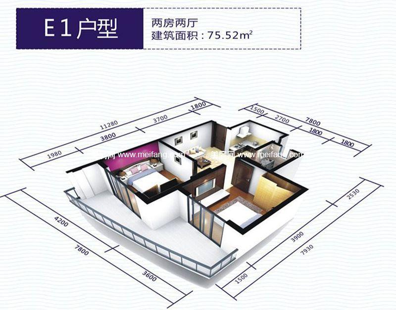 波溪丽亚湾 E1户型 2室2厅1厨1卫 建面75.52㎡