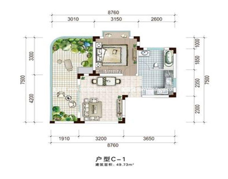 白金海岸 一期C-1户型 1室1厅1厨1卫 建面49.73㎡