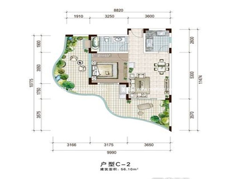 白金海岸 二期C-2户型 1室1厅1厨1卫 建面56.10㎡