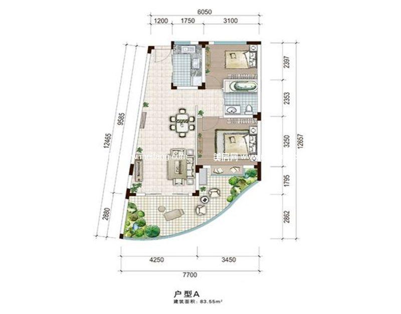 白金海岸 二期A户型 2室2厅1厨1卫 建面83.55㎡