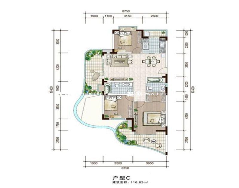 白金海岸 一期C户型 3室2厅1厨2卫 建面116.82㎡