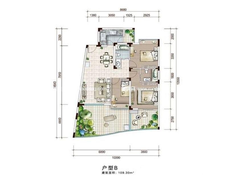 白金海岸 二期B户型 3室2厅1厨2卫 建面109.30㎡