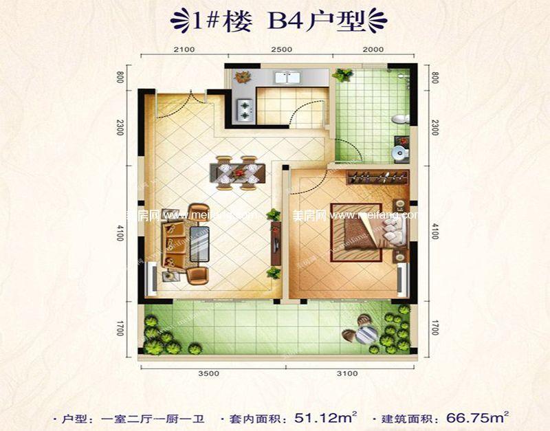 博鳌印象 1#楼B4户型 1室2厅1卫1厨 66㎡