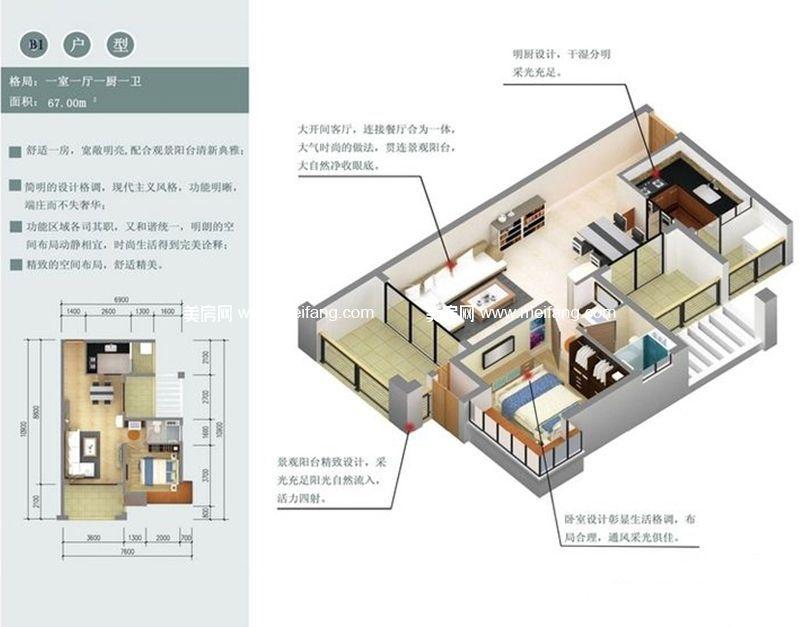 木棉山莊 B1户型 1室1厅1厨1卫 67㎡