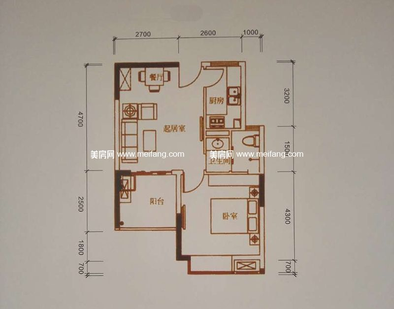 四季春城温泉谷 C户型1房2厅1卫1阳台建面55.72㎡