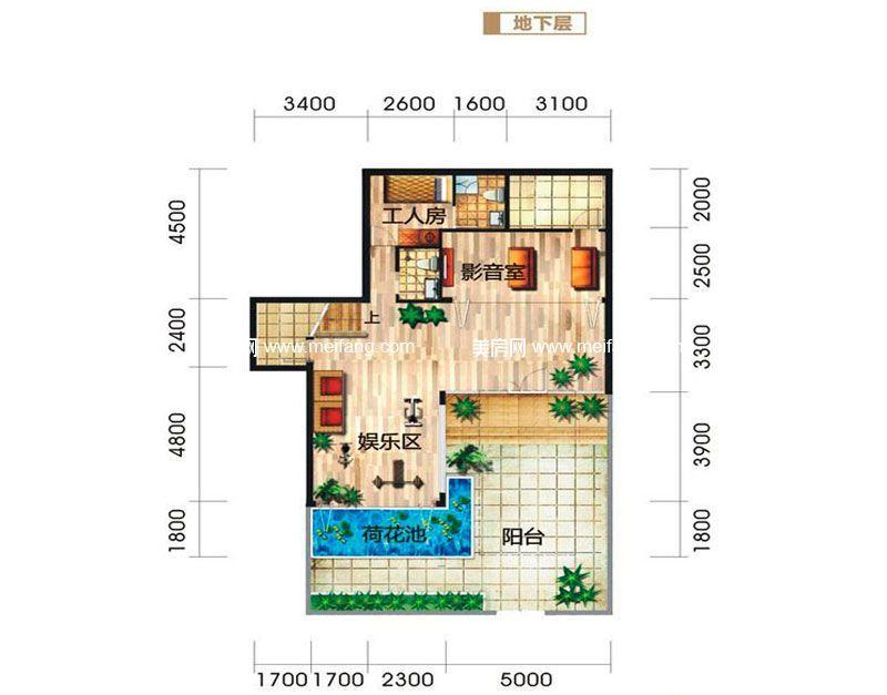 龙栖湾波波利海岸 别墅户型2地下层 3室4厅4卫1厨 建面206㎡