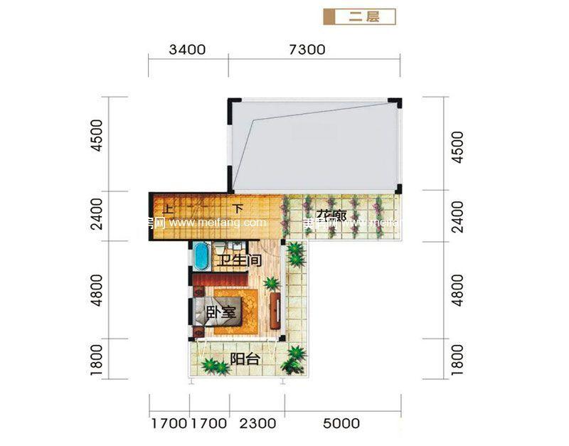 龙栖湾波波利海岸 别墅户型2二层 3室4厅4卫1厨 建面206㎡