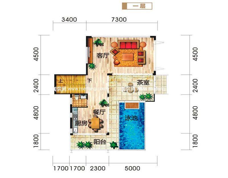 龙栖湾波波利海岸 别墅户型2一层 3室4厅4卫1厨 建面206㎡