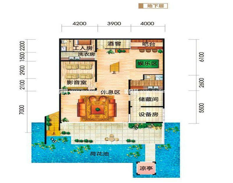龙栖湾波波利海岸 别墅户型3地下层 5室4厅6卫1厨 建面348㎡