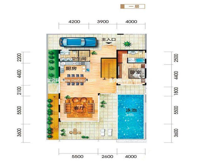 龙栖湾波波利海岸 别墅户型3一层 5室4厅6卫1厨 建面348㎡