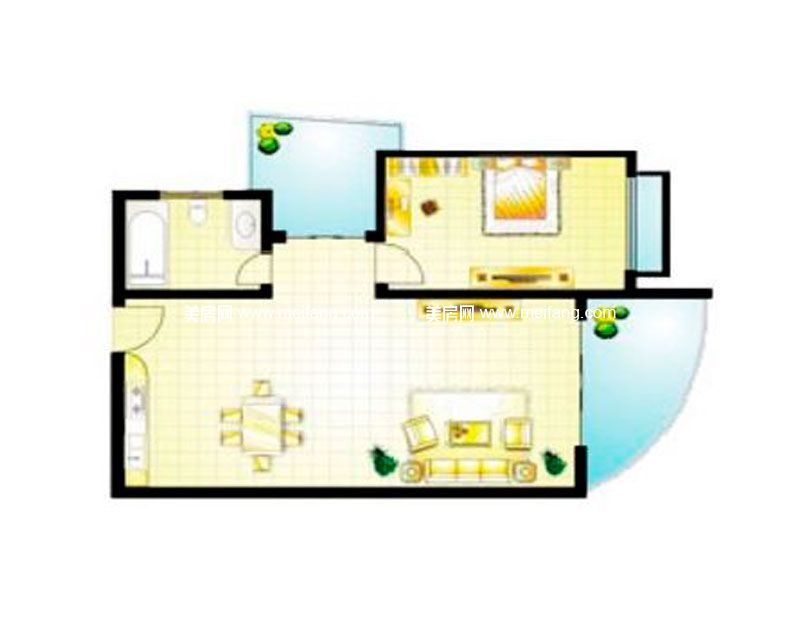 A户型 1室2厅0厨1卫 建面82.26㎡