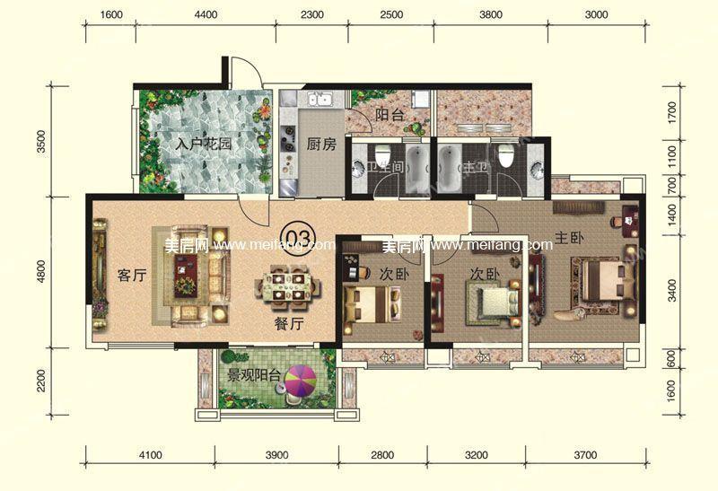 天伦誉海湾 二期 A1-A2#5层03户型 3室2厅2卫1厨 建面142㎡