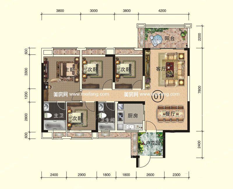 天伦誉海湾 二期 A1-A2#7层01-02户型 4室2厅2卫1厨 建面134㎡
