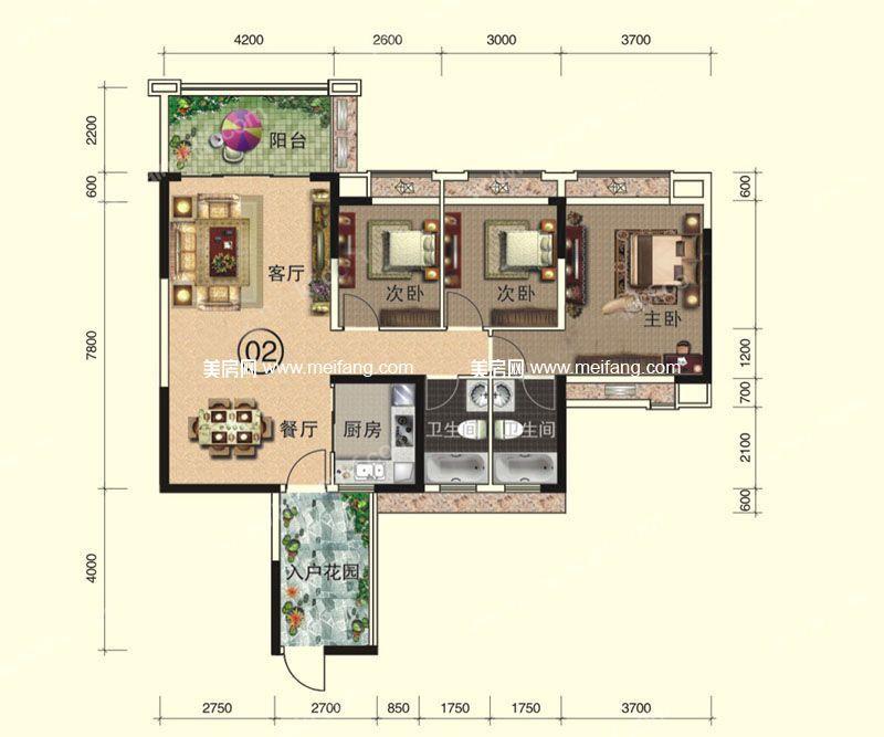 天伦誉海湾 二期 A12-A13#7层02户型  3室2厅2卫1厨 建面120㎡