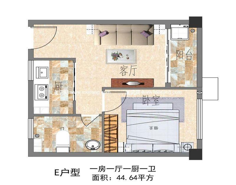 怡园阁二号 E户型 1室1厅1卫1厨 约44.64㎡