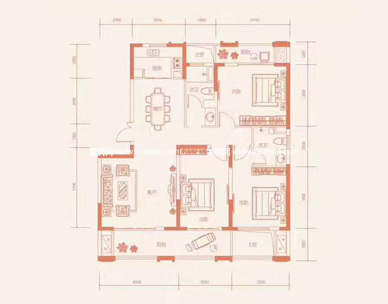 滨海新天地 B4-1户型 4室2厅1厨2卫 建面143.66㎡