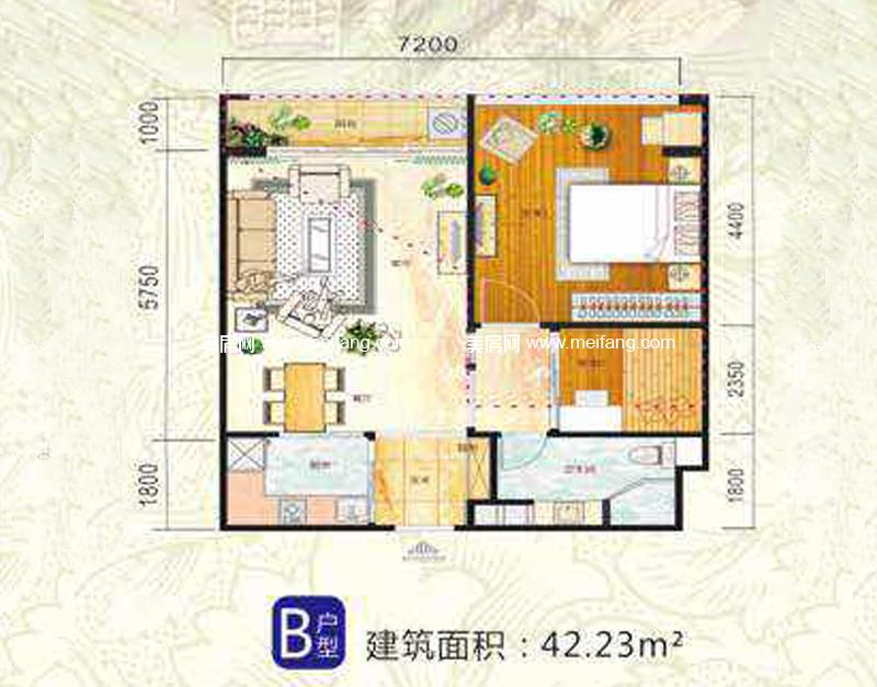 一里海 B户型 1室1厅1厨1卫 42.23㎡